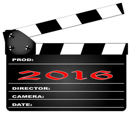 home video camera: A typical movie clapperboard with the legend2016 isolated on white. Illustration