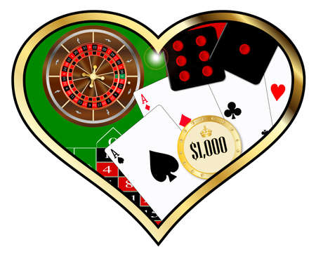 roulette layout: A typical American roulette table layout with cards and dice over a white background Illustration