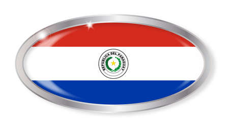 bandera paraguay: Oval silver button with the Paraguay flag isolated on a white background Vectores