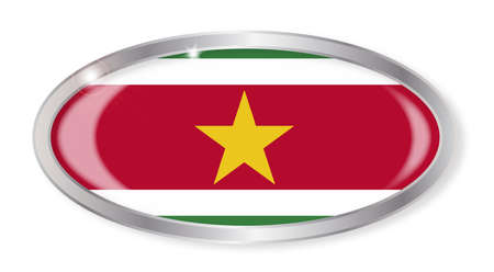 suriname: Oval silver button with the Suriname flag isolated on a white background Illustration