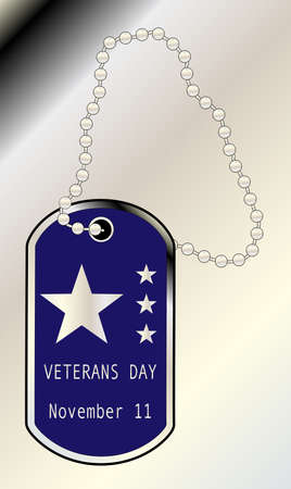 commemoration day: A dog tag with the inscription veterans day and 4 silver stars