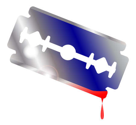 razor blade: A razor blade over white with blood stains and drip
