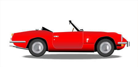 reg: A classic old British sports car in red over a white background