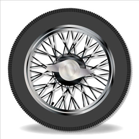 spoke: A traditional knock on wire spoke sports car wheel and tyre Illustration