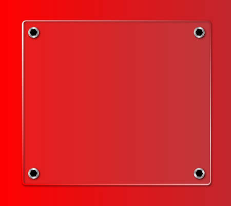 A glass nameplate on a red background with fixing bolts
