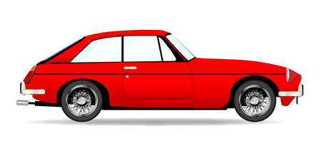 coupe: A red traditional British coupe style sports car in red over a white background