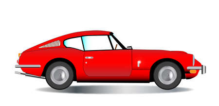 reg: A classic old British hard top sports car in red over a white background