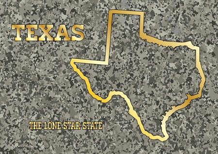 granite: Map of the state of Texas carved into a granite block with gold leaf