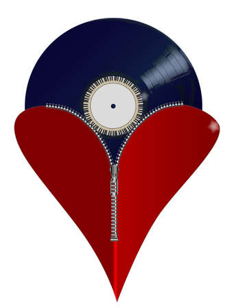 unzip: A red heart with a zipper showing a long playing record rising from within