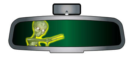 rear view mirror: Depiction of a vehicle rear view mirror with an alien beast Illustration