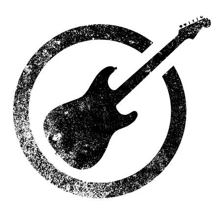 headstock: The definitive rock and roll guitar as as rubber ink stamp in black, isolated over a white background. Illustration