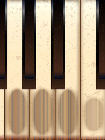 few: A closeup of a few old and well worn piano keys