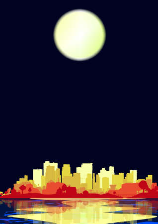 urban sprawl: A city  on the waters edge, with an evening sky and reflections with a pale moon Illustration