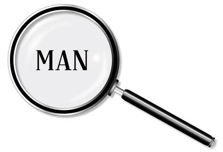 private eye: A magniying glass exanining Man over a white background