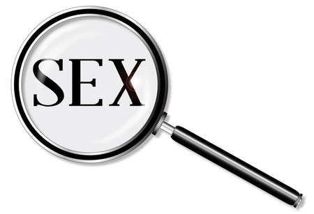 sex positions: A magniying glass exanining sex over a white background