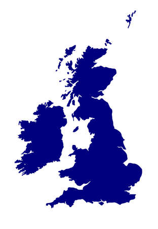 eire: A silhouette of the United Kingdom and Eire over a white background Illustration