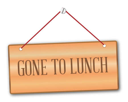 gone: Gone to lunch plaque in woodgrain with red string and screw Illustration