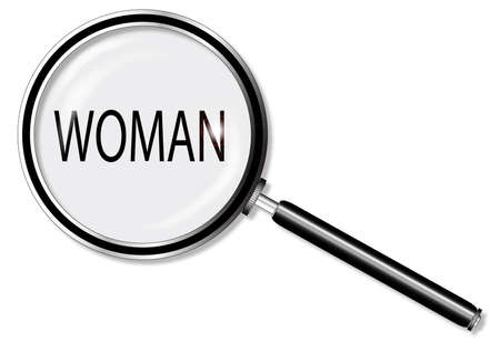 private eye: A magniying glass exanining woman over a white background Illustration