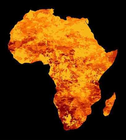 inset: Silhouette map of Africa with fire and flames inset