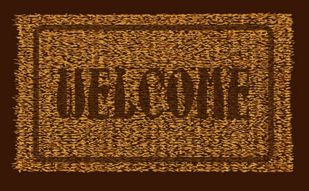 A typical welcome coconut doormat over a white background