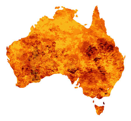 inset: Silhouette map of Australia over a white background with flames inset into the silhouette