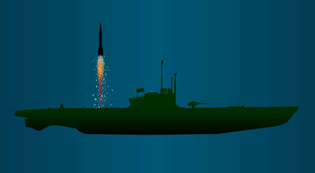 underwater ocean: A submerged submarine launching a missile