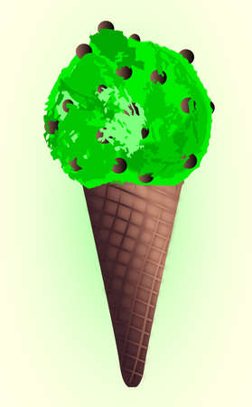 gm: Mint ice cream come with chocolate chips over a coloured background