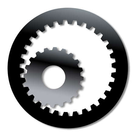 gearing: Two gears one within the other over white Illustration