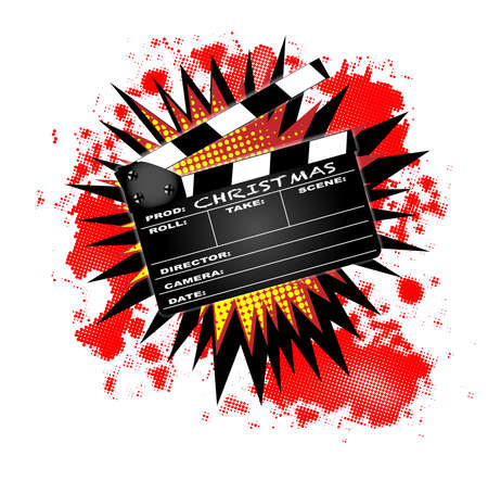 home video camera: A typical movie clapperboard with the text Christmas with a splash isolated on white. Illustration