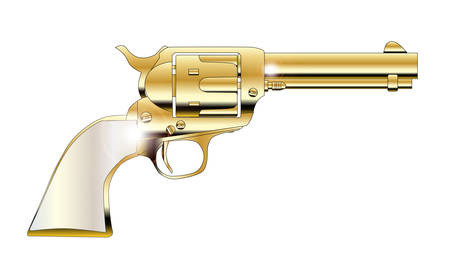 six shooter: Pear handles revolver in gold over white Illustration