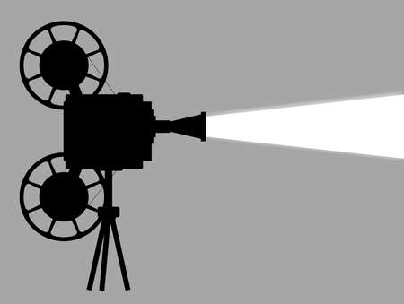 feature films: A mocie cinema ine projector silhouette with white beam and copy space