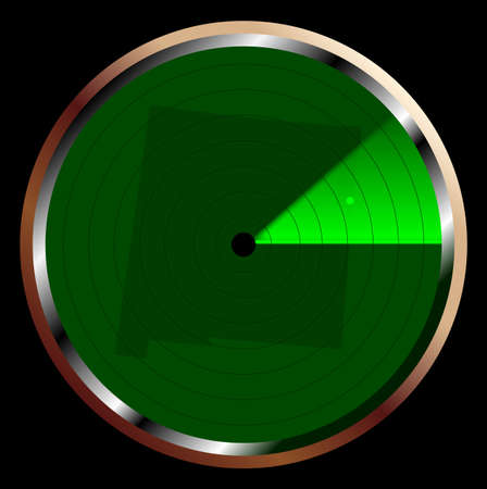 blip: The screen of a typical radar device in green sweeping over New Mexico Illustration