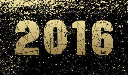 fleck: A happy new year 2016 card background in gold and black