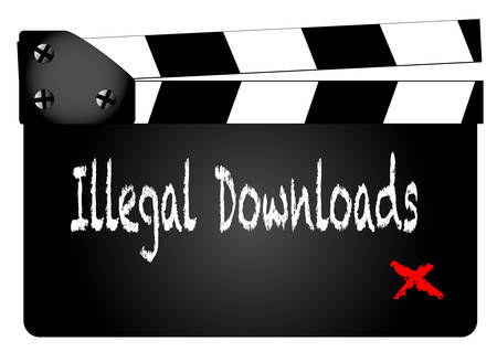 home video: A typical movie clapperboard with the text illegal downloads isolated on white.