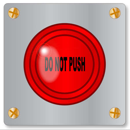 ejector: The big red emergency do not push button on a white background