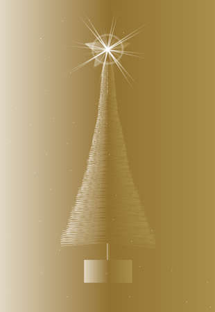 artificial: A golden artificial Christmas tree with star and sparkles