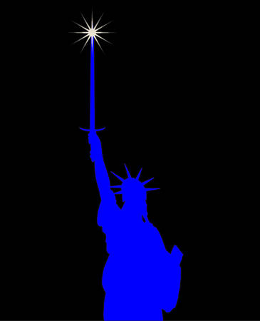 The Statue of Liberty with large broadsword Illustration