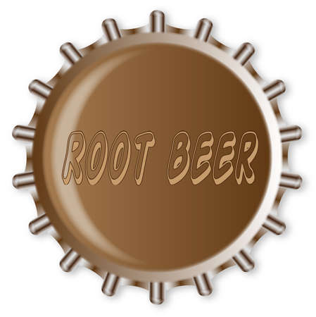 root beer: A typical metal glass bottle cap from a bottle of root beer