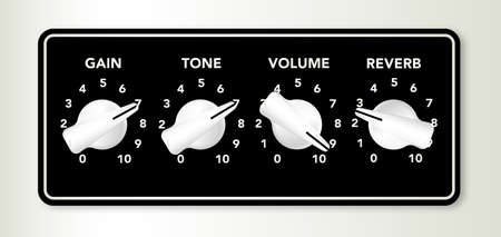 reverb: A section of an electric guitar amplifier gain tone and reverb chicken head knobs Illustration
