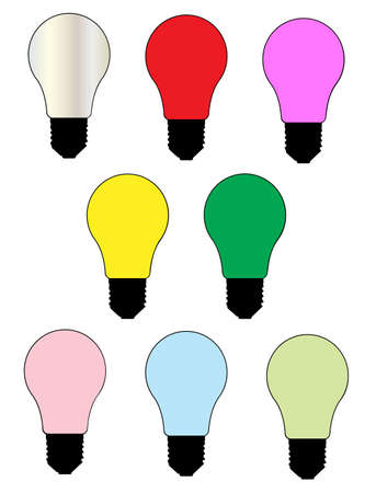coloured: A collection of eight coloured light bulbs