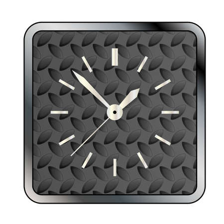 tread: A metal tread background pattern with a clock face over white