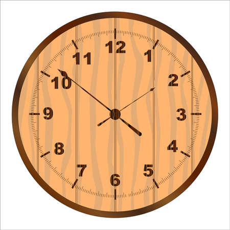 softwood: A wooden clock face over a white background Illustration