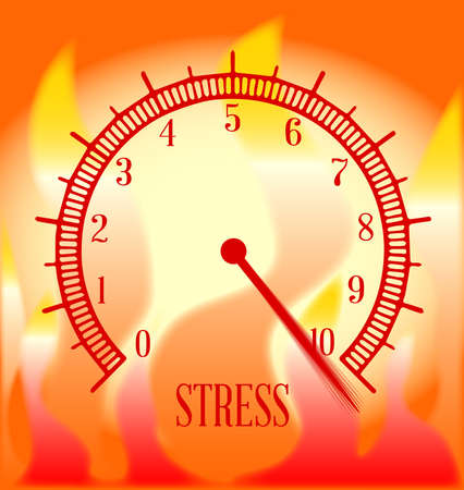 An abstract fire type effect background with a stress level meter on ten