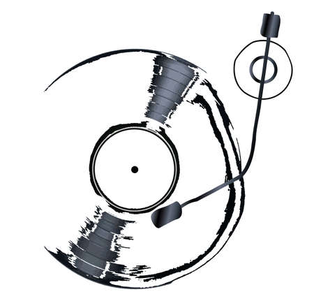 grooves: A sketch style dj record deck with long playing record Illustration