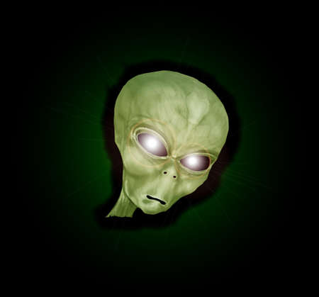 depiction: A depiction of a green alien monster head with bright glowing eyes