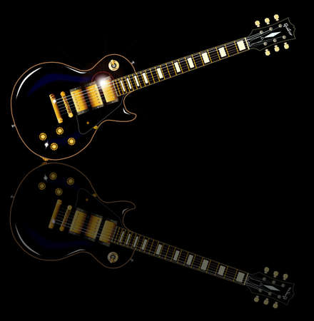 gibson: The definitive rock and roll guitar in black, isolated over a black background. Illustration