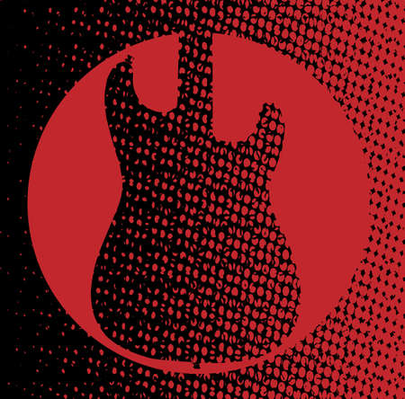 strat: A red and black background with a silhouette of an electric guitar