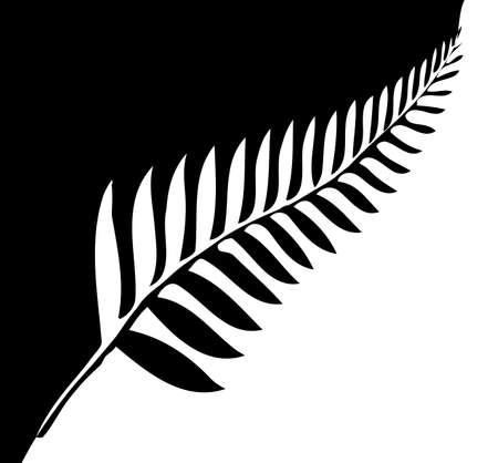Silhouette di una felce d'argento, un emblema nazionale della Nuova Zelanda in bianco e nero