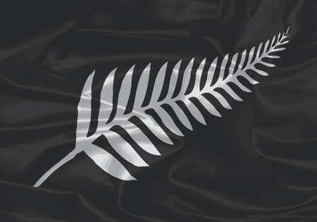 silver fern: SIlver fern silk flag if New Zealand