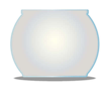 goldfish bowl: A typical pet goldfish bowl  over a white background
